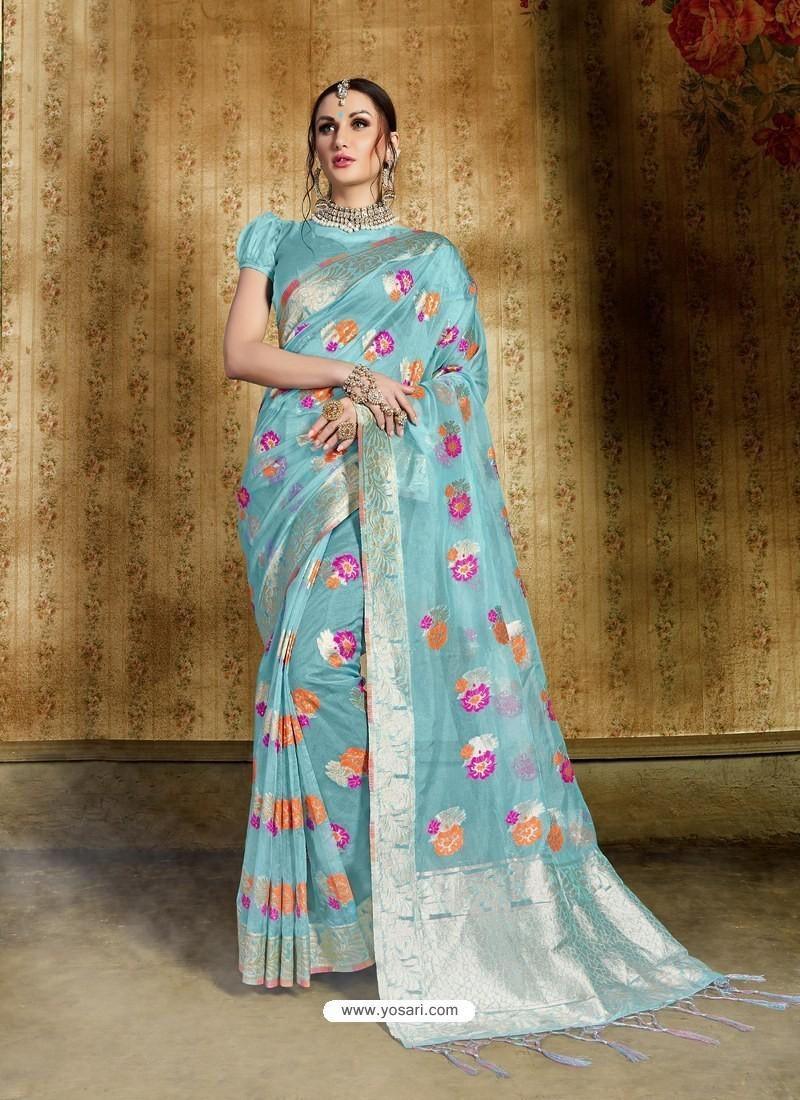d1d0e4cde2 Buy Sky Blue Nylon Organza Silk Designer Saree | Designer Sarees