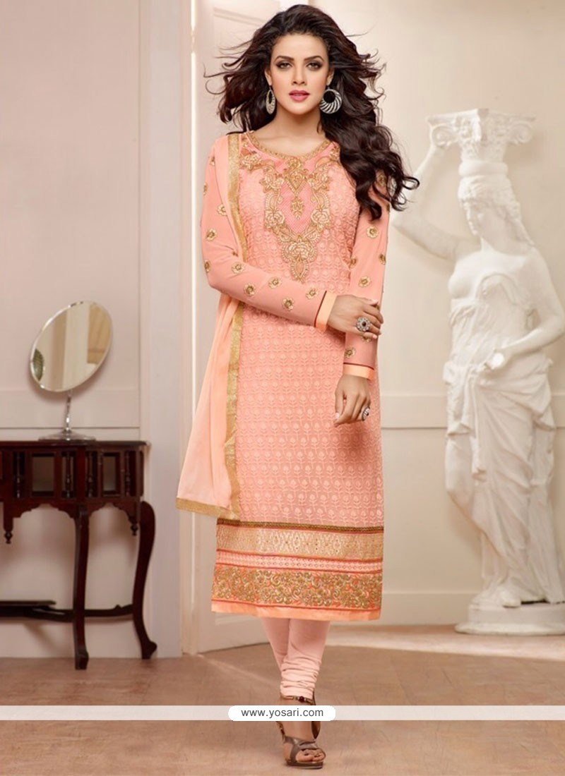 Flashy Peach Georgette Churidar Suit