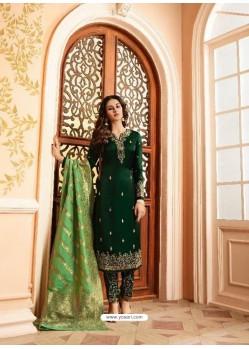 Dark Green Silk Heavy Embroidered Straight Suit
