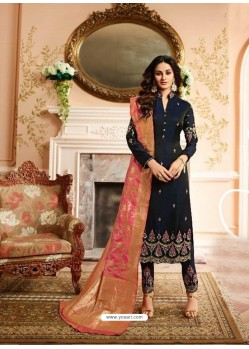 Black Silk Heavy Embroidered Straight Suit