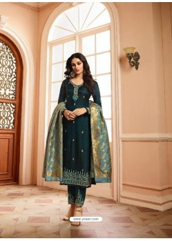Teal Silk Heavy Embroidered Straight Suit