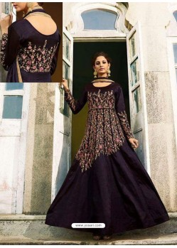 Purple Heavy Embroidered Art Silk Floor Length Suit