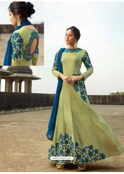 Green Heavy Embroidered Art Silk Floor Length Suit