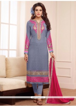 Grey Georgette Churidar Salwar Kameez