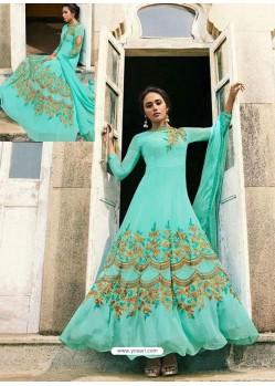 Firozi Heavy Embroidered Art Silk Floor Length Suit