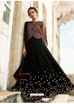 Black Heavy Embroidered Art Silk Floor Length Suit