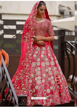 Fuchsia Silk Heavy Embroidered Wedding Lehenga Choli