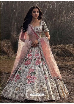 Off White Silk Heavy Embroidered Wedding Lehenga Choli