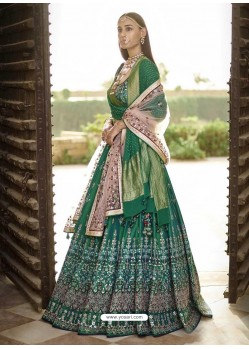Dark Green Silk Heavy Embroidered Wedding Lehenga Choli