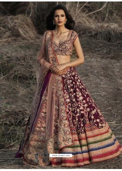 Purple Satin Heavy Embroidered Wedding Lehenga Choli