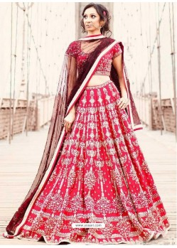 Red Satin Heavy Embroidered Wedding Lehenga Choli