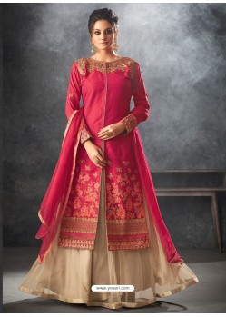 Crimson Art Silk Thread And Jari Embroidered Floor Length Suit