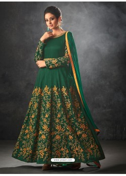 Dark Green Art Silk Thread And Jari Embroidered Floor Length Suit