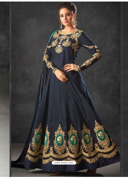 Navy Blue Art Silk Thread And Jari Embroidered Floor Length Suit