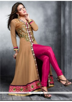 Embellished Brown Georgette Designer Anarkali Suit