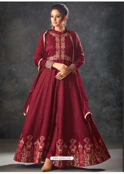 Maroon Art Silk Thread And Jari Embroidered Floor Length Suit
