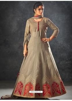 Taupe Art Silk Thread And Jari Embroidered Floor Length Suit