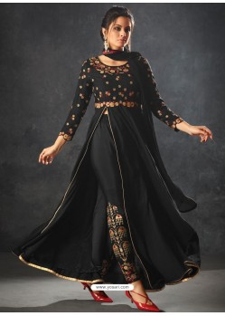 Black Art Silk Thread And Jari Embroidered Floor Length Suit