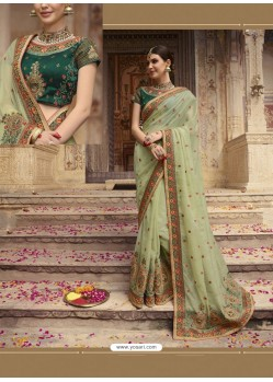 Sea Green Organza Thread And Jari Embroidered Designer Wedding Saree