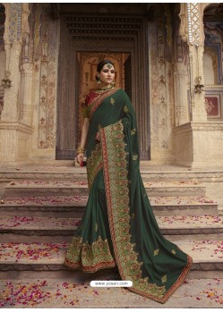 Dark Green Soft Silk Thread And Jari Embroidered Designer Wedding Saree
