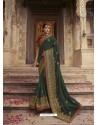 Dark Green Soft Silk Thread And Jari Embroidered Designer Wedding Saree
