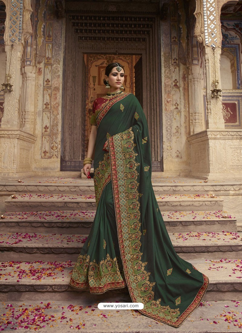 bfe1462cc3 Dark Green Soft Silk Thread And Jari Embroidered Designer Wedding Saree