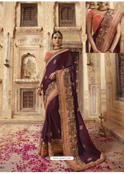 Deep Wine Soft Silk Thread And Jari Embroidered Designer Wedding Saree
