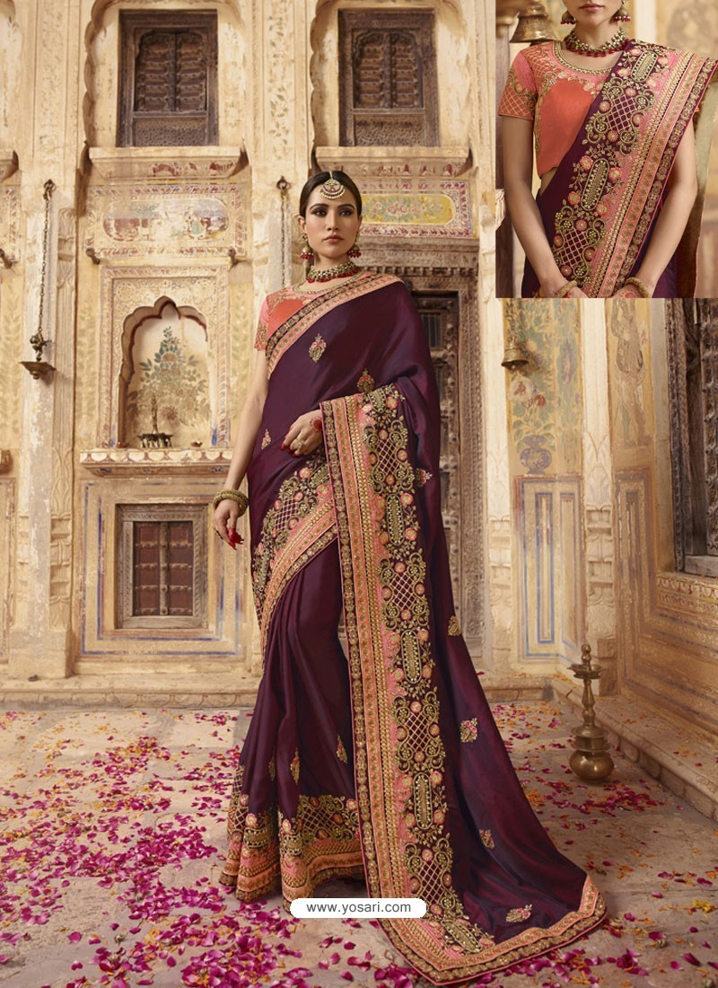 Deep Wine Soft Silk Thread And Jari Embroidered Designer Wedding Saree