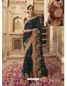 Peacock Blue Soft Silk Thread And Jari Embroidered Designer Wedding Saree