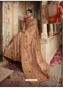 Peach Soft Silk Thread And Jari Embroidered Designer Wedding Saree