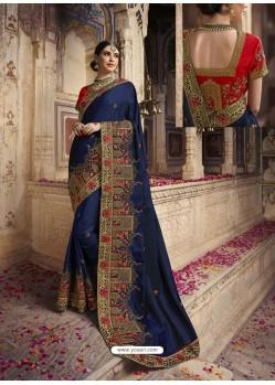 Navy Blue Soft Silk Thread And Jari Embroidered Designer Wedding Saree