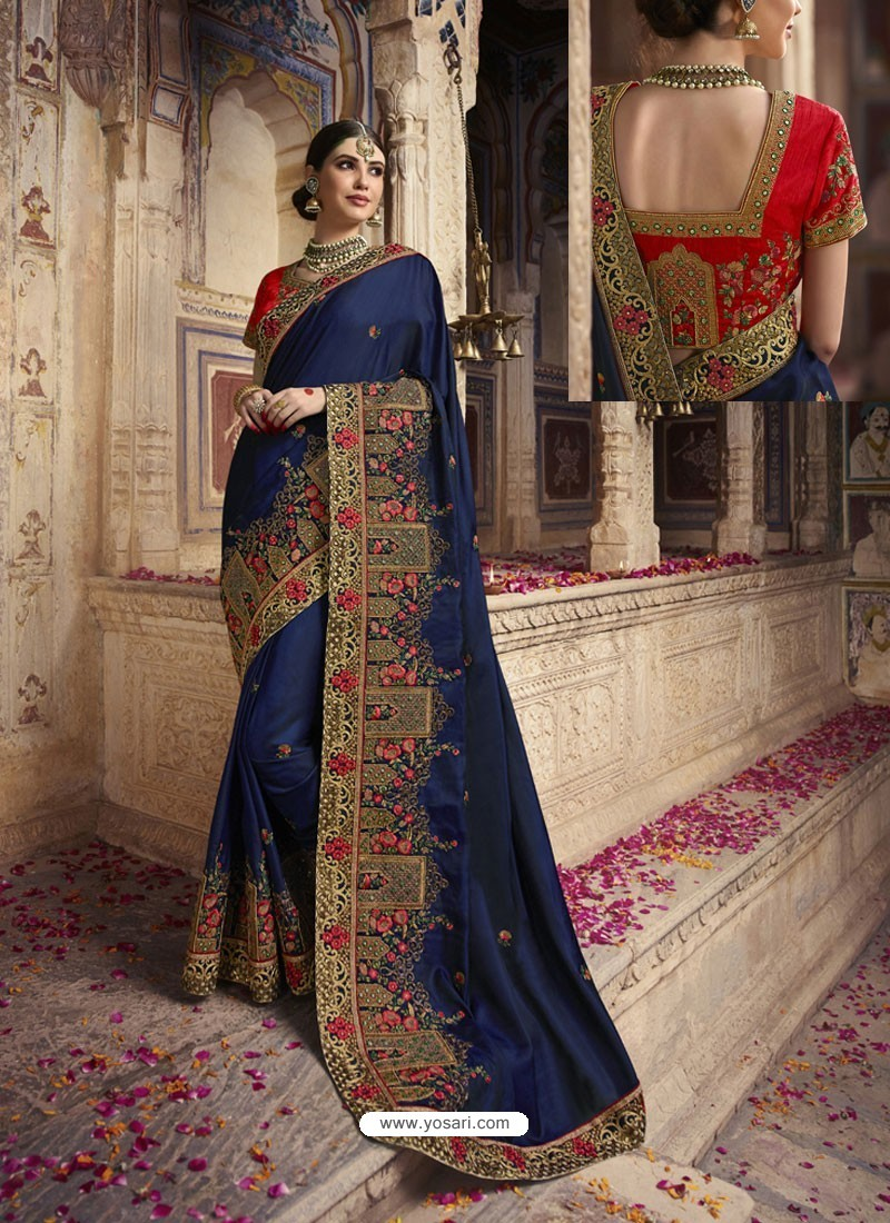 Navy Blue Soft Silk Thread And Jari Embroidered Designer Wedding Saree