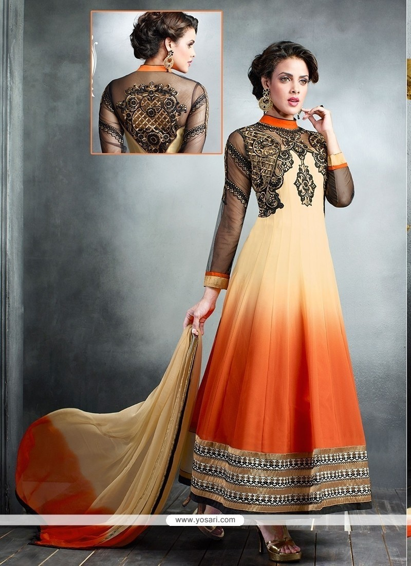 Cream And Orange Shaded Georgette Anarkali Suit