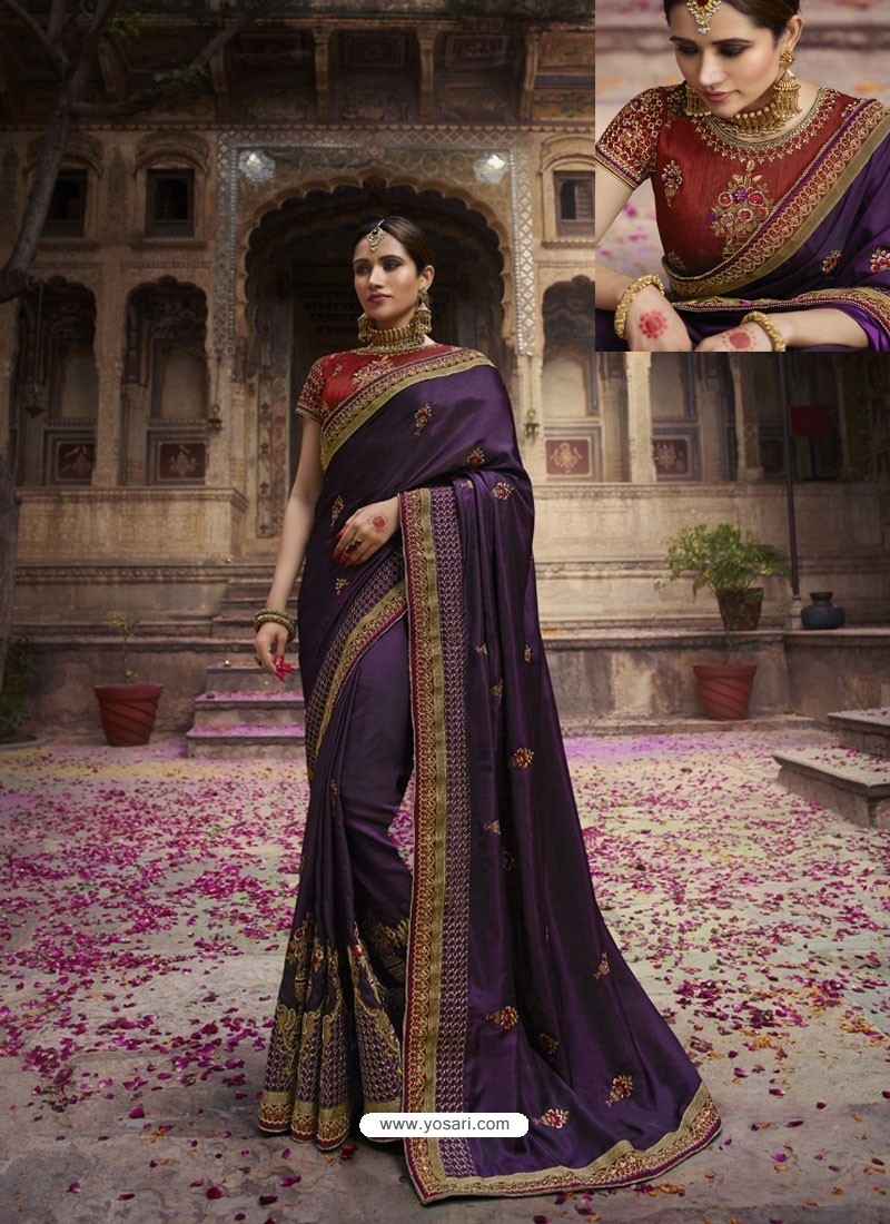 Purple Soft Silk Thread And Jari Embroidered Designer Wedding Saree
