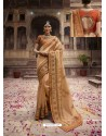 Beige Organza Thread And Jari Embroidered Designer Wedding Saree