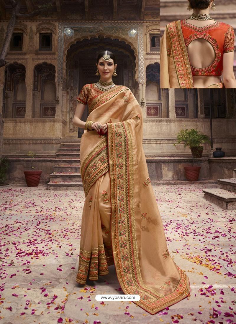 Beige Organza Thread And Jari Embroidered Designer Wedding Saree