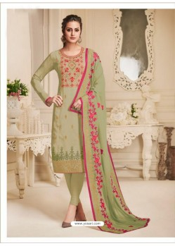 Olive Green Pure Upada Silk Embroidered Churidar Suit