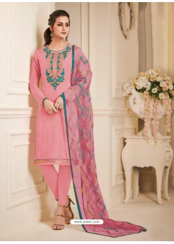 Light Pink Pure Upada Silk Embroidered Churidar Suit