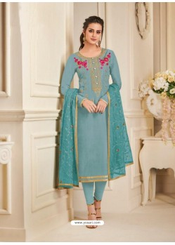 Sky Blue Pure Upada Silk Embroidered Churidar Suit