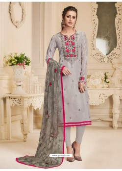 Grey Pure Upada Silk Embroidered Churidar Suit