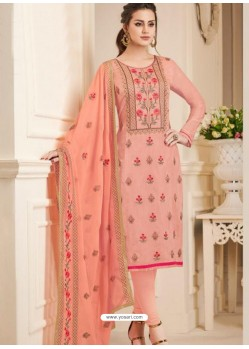 Peach Pure Upada Silk Embroidered Churidar Suit