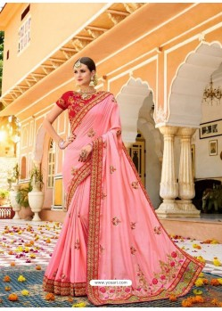 Pink Fancy Heavy Embroidered Designer Wedding Saree