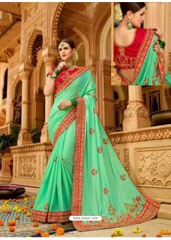 Jade Green Fancy Heavy Embroidered Designer Wedding Saree