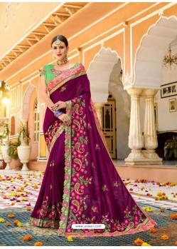Purple Fancy Heavy Embroidered Designer Wedding Saree