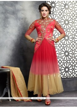 Red And Pink Shaded Net Anarkali Suit