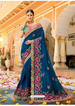 Tealblue Fancy Heavy Embroidered Designer Wedding Saree