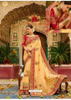 Yellow Fancy Heavy Embroidered Designer Wedding Saree