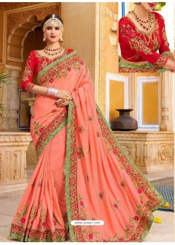 Peach Fancy Heavy Embroidered Designer Wedding Saree