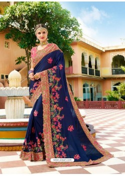 Navy Blue Fancy Heavy Embroidered Designer Wedding Saree