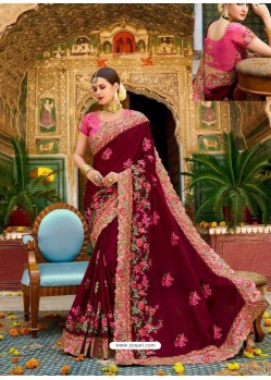 Maroon Fancy Heavy Embroidered Designer Wedding Saree